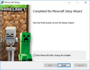 Minecraftインストール終了画面