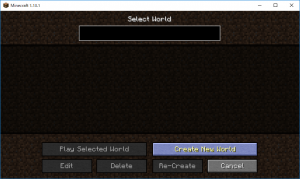 Minecraft Create New Worldを選択
